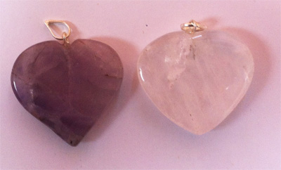 Heart pendants, quartz and amethyst
