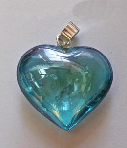 Aqua aura heart pendant