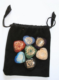Chakra heart stone set in bag