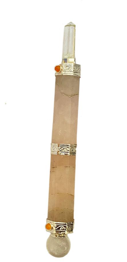 Chakra wand 5 inch rose quartz