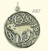 Celtic wolf medallion