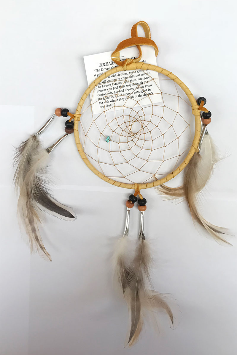 Iroquois 5 inch Dream Catcher, Natural Feathers
