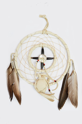 Medicine Wheel 6 inch with resin skull or medicine bag
