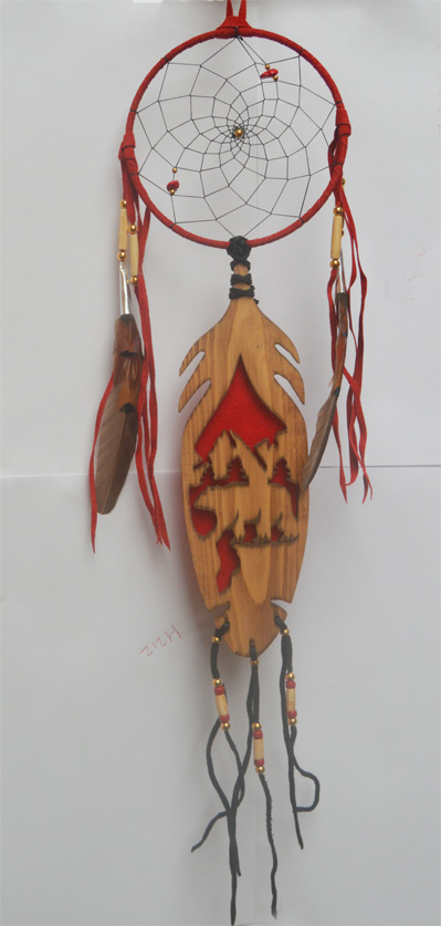 Iroquois Spirit of the Dream Catcher 9.5 inch carved wood feather