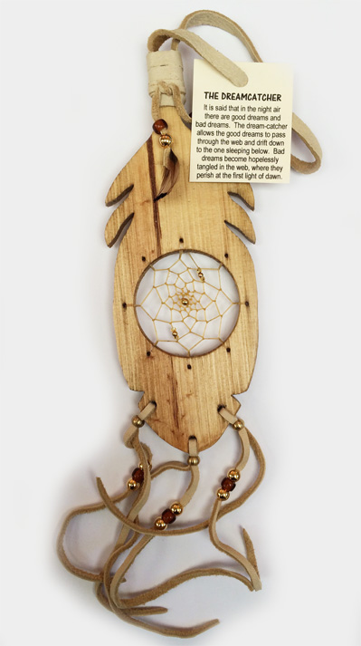 Iroquois wood feather Dream Catcher 6.75 inch
