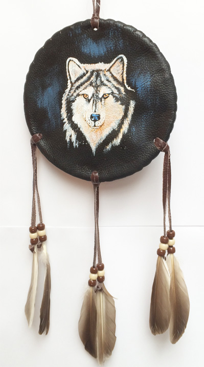 Navajo Hand-painted Shield 6 inch, various animal designs