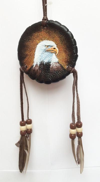Navajo Hand-painted Shield 3 inch, various animal designs