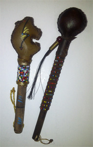 Navajo rawhide rattle 5 to 7 inch, various designs