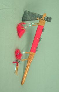 Iroquois soapstone 3 turtle fancy tomahawk pipe, 18 inch