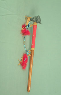 Iroquois soapstone long snake pipe, 18 inch