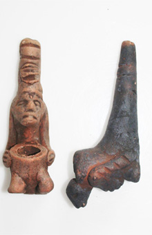 Mayan Clay Pipe 4 inch