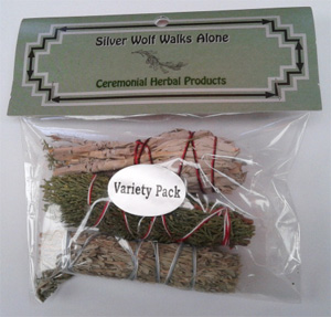 4 inch Variety Pack, 3 sticks. White sage, blue sage, juniper
