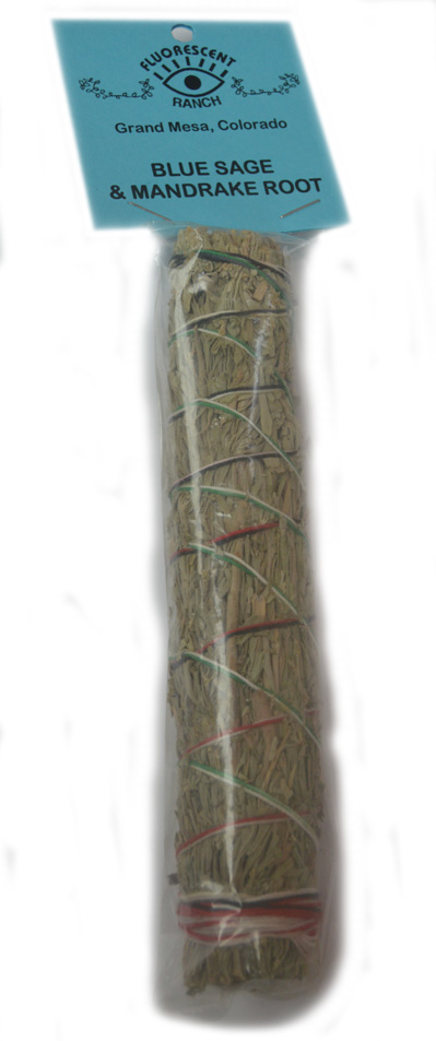 Blue Sage and Mandrake Root 7 inch Smudge Stick