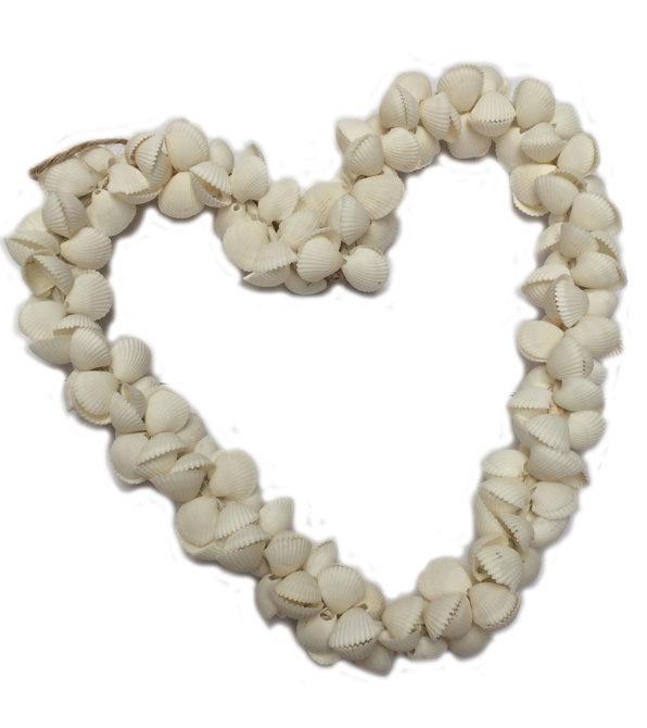 Cockle shell Heart, white 20cm.