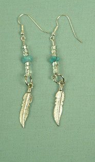 Iroquois feather and turquoise ear-rings