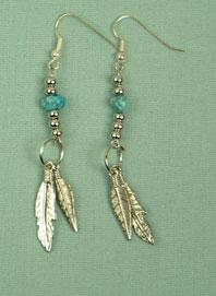 Iroquois double feather and turquoise ear-rings