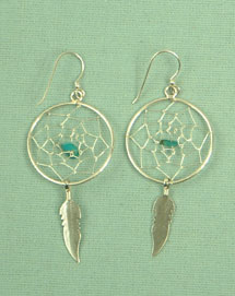 Dream catcher ear-rings, 1 inch silver