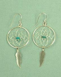 Dream catcher ear rings, 1 inch silver