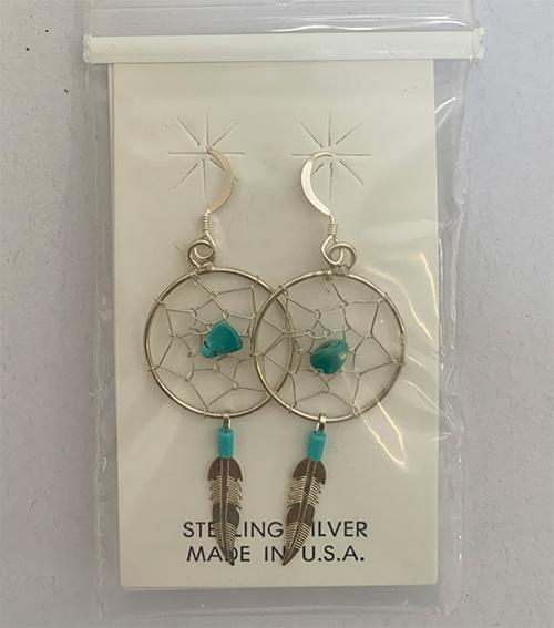 Dream catcher ear rings,0.5 inch silver