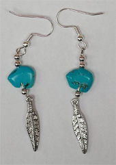 Iroquois feather and turquoise bear ear-rings