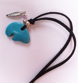 Turquoise bear and feather pendant with cord, Iroquois