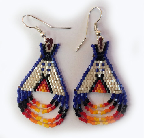 Beaded Teepee Ear-rings
