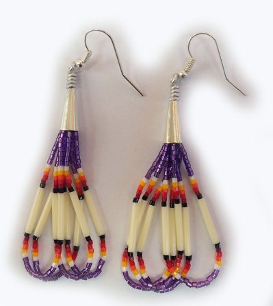 Beaded Quill Ear-rings 2 inches