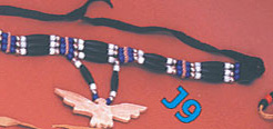 Three row choker  with animal pendant  bone or horn, specify: bear, buffalo, eagle, turtle or wolf