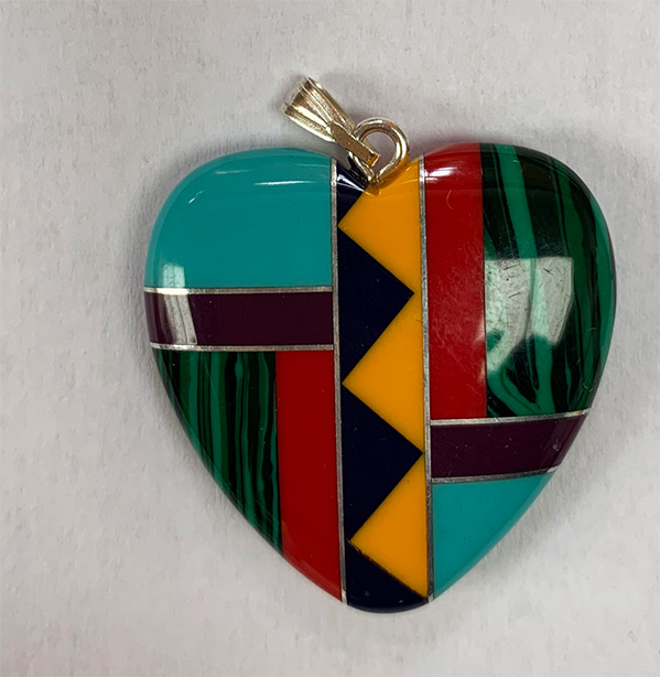 Heart inlaid with bail 30mm