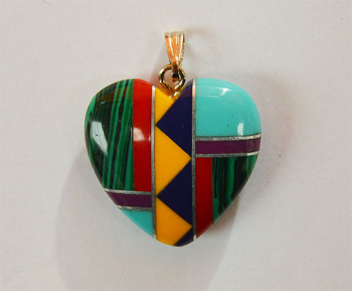 Heart inlaid with bail 20mm