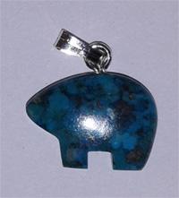 Bear, howlite with bail, blue or white