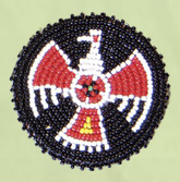 Thunderbird rosette 2.5 inch red,yellow,white,black,turquoise