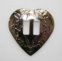 Conchos, metal heart 10 per bag