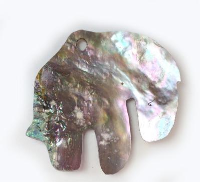 Abalone Shell Bear 2 inch 1 hole