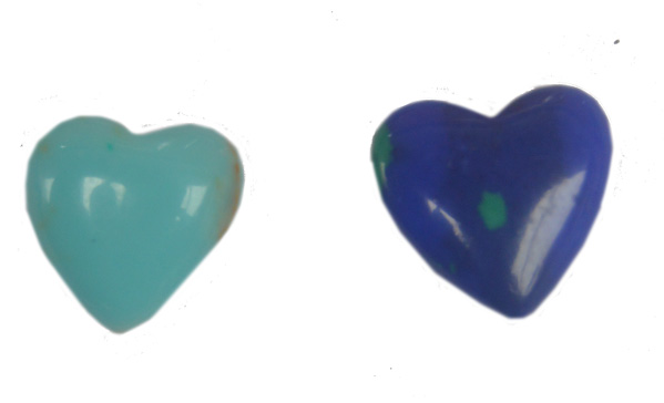 Hearts, drilled 1 cm. Azurite or  turquoise