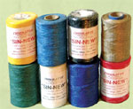 Imitation sinew. 8 oz. Spool, waxed viscose thread, very strong, can be split to make finer threads. Specify: colour