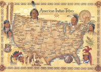 Native American Indian Tribes postcard 5 inch X 7 inch