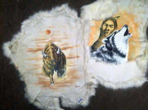 Rabbit pelt, hand-painted, wolf, buffalo, bear, eagle, horse