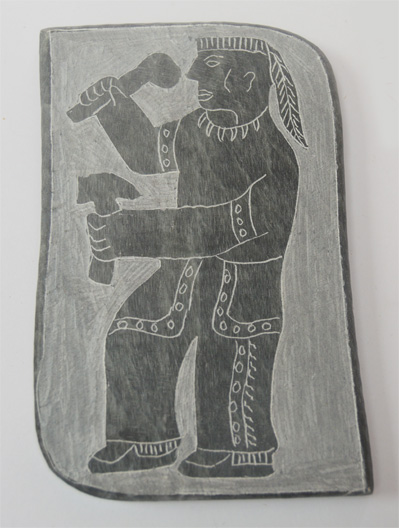 Soapstone Plaque, Ojibwa, 6 x 3 inch dancer/ lacrosse player