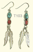 Turquoise and coral feather ear rings