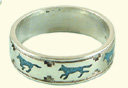 Wolves inlay ring, M
