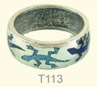 Lizards inlay ring, M