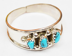3 stone Turquoise ring, M