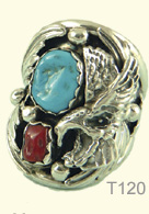 Eagle, turquoise and coral ring, M