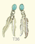 Feather and turquoise ear-ring