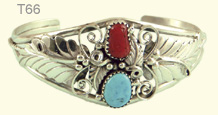 Turquoise and coral leaf bangle