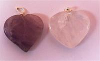 Heart pendants, quartz and amethyst